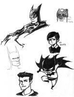 Batman Doodles by d00li