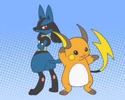 Raichu and Lucario by ezeqquiel