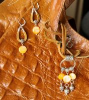 Orange nacre and leather set by alena-light
