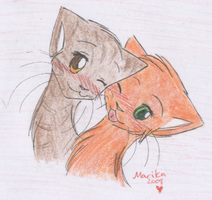 Squirrelpaw and Leafpaw by MarikaGirl