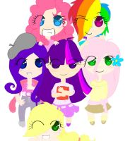 MLP: Humanized Main 6 (chibi) by p-l-u-m-b-u-m
