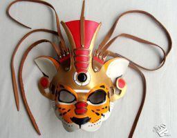 Tezcatlipoca, Aztec Jaguar God Leather Mask by b3designsllc