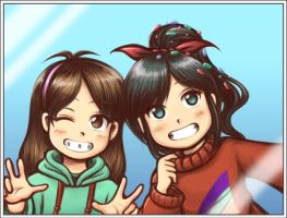 Mable And Vanellope - Costume Swap Selfie by Taco-Yaki