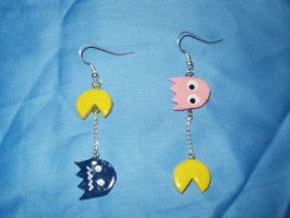 pac-man earrings pink by KittyAzura
