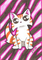 Funny cat aceo tiger stripes by KingZoidLord