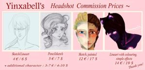 Commission Prices - Headshots by Yinxabell