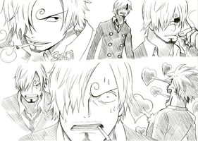 One piece Sanji traditional sketches by Angy89