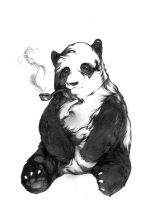 Panda Smoking a Pipe Tattoo Flash FOR SALE by MapleBrilliantine