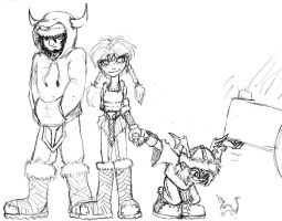 Modi, Thrudd, and Magni: Thor's Kids by Heckfire