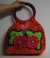 Colorful Crochet Handbag With Beautiful Flowers by MagicalString