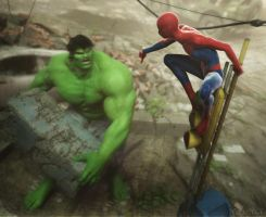 Spidey vs Hulk by RawArt3d