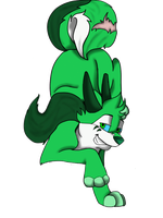 Green dog with antlers for JB-Pawstep by Hoffnungsstern