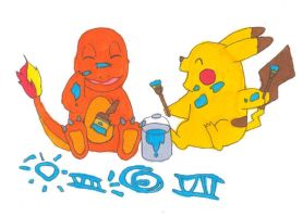 Charmander and Pikachu Paint by FullmetalApollo