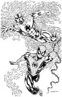 SPIDER-MAN/HUMAN TORCH COMMISSION by FanBoy67