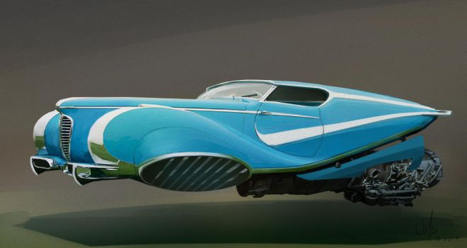 retro flying car by Or1s