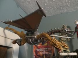 MechaKingGhidorah is flying in my Godzilla room! by Legrandzilla