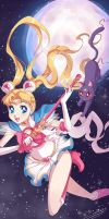 Sailor Moon + Luna by Zelbunnii