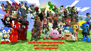 100TH DEVIANTIONS GROUP PICTURE!!! by sonicdevil18