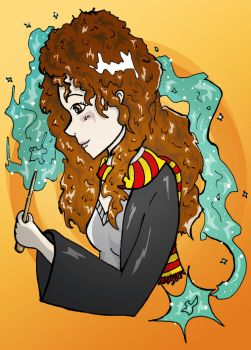 HP : Hermione with her wand by Vickster
