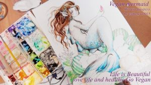 vegan mermaid in water color by Estheryu
