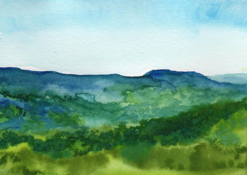 View from Cliff Resort in Branson in Watercolor by HaleyGottardo