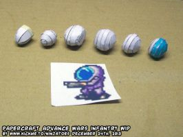 Papercraft Advance Wars BH Infantry helmet WIP by ninjatoespapercraft