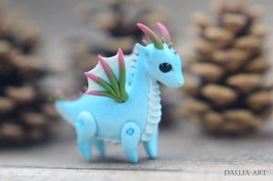 Ball-jointed dragon - blue, white, green, pink by dallia-art