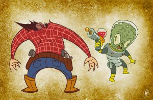 Alien vs Cowboy by mapacheanepicstory