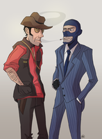 TF2: Sniper and Spy by monkette