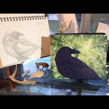 Raven Totem Painting - WIP by snailbird