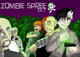 Zombie spree oct poster- lines by snaggle-berry