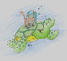 Sea Turtle and Aqua Cat by jellyskink