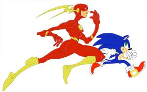 The Flash vs Sonic colored by FeiLongEX