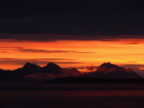 Mountainous Sunset Silhouette by Meggsy