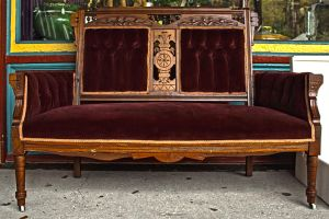 Antique Velvet Couch by Lizzie-Bitty