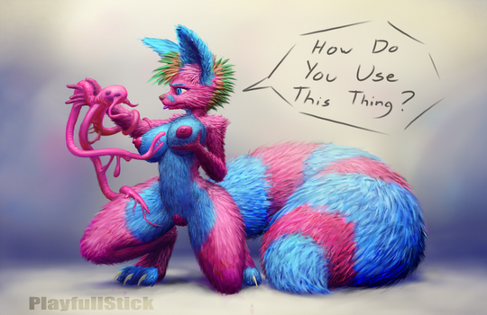 Pink And Cyan Flooff NSFW by PlayfullStick