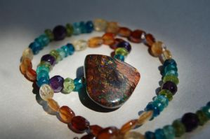 Austrailian Boulder Opal Multi Gemstone Necklace by A-Sharper-Spectrum