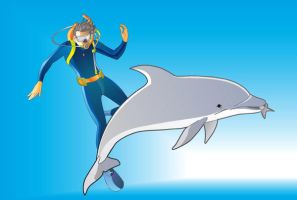 Diver and Dolphin by paragraphworld