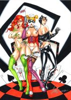 Poison Ivy Harley Quinn Catwoman hot and sexy by HM1art