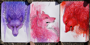Colorful Wolves I by TransparentGhost