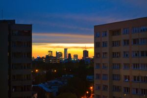 sunrise with panorama of Warsaw by alv91