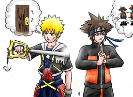 Naruto and sora switch-a-roo by minsra