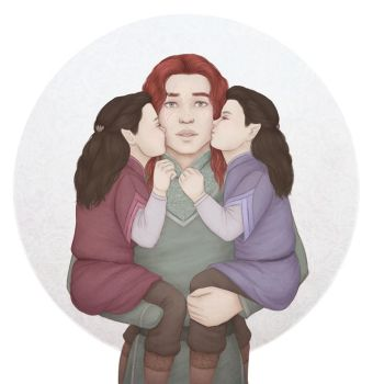 Maedhros with Elrond and Elros by rowanbaines