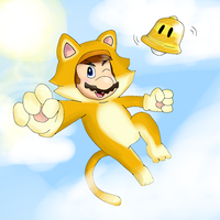 Cat Mario above the clouds... by SuperKirYoshi