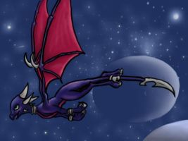 Cynder flying through space by chocogingerfingers