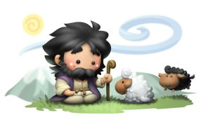 Jesus with sheep by kokecit