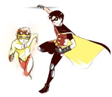 YJ : Kid Flash and Robin by DarkHalo4321
