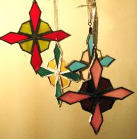 Stained Glass Ornaments '09 by theancientofdays
