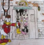 Tot ride with Mickey and Minnie by RockyTheOwl