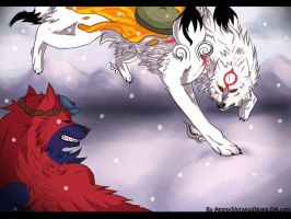 Amaterasu And Oki Fight by AmmyShiranuiOkami